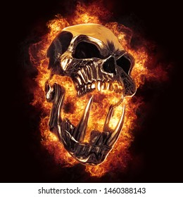 Screaming demon orc heavy metal skull engulfed in flames - 3D Illustration
