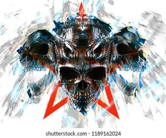 Screaming demon skulls - thrash style - 3D Illustration