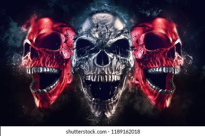 Screaming metal demon skulls - neo thrash style - 3D Illustration