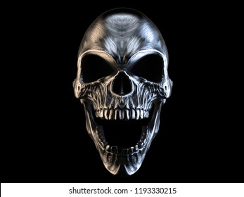 Screaming silver demon skull - 3D Illustration