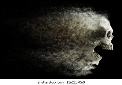 Screaming skull fading into dust - 3D Illustration