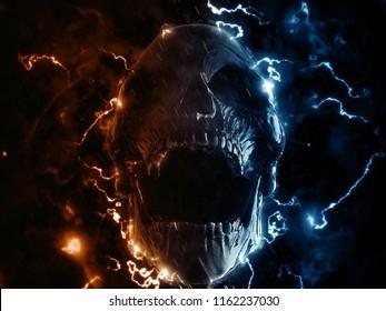 Screaming skull in lighting storm - 3D Illustration