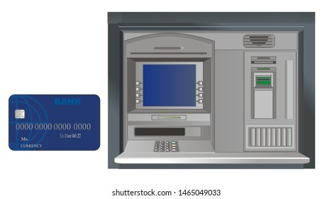 screen of ATM and bank card