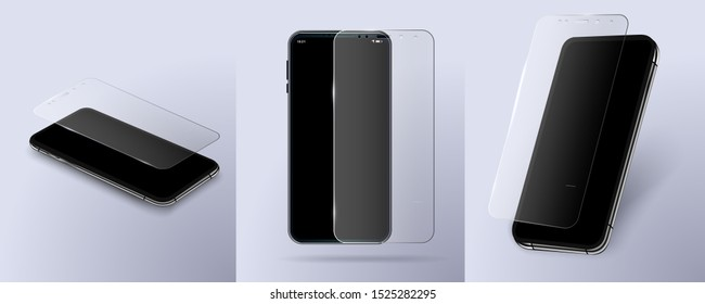 Screen Protector Glass. transparent tempered glass shield for mobile phone.Isolated vector modern frameless smartphones.Digital design concept. Mockup generic device.3D isometric