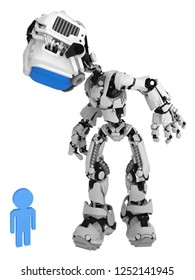 Screen robot figure character pose person symbol examining curious, 3d illustration, vertical, isolated
