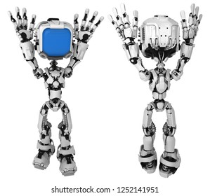 Screen robot figure character pose surrendering hands up, front and back, 3d illustration, horizontal, isolated