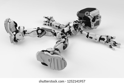 Screen robot figure character pose lying deactivated, over white surface, 3d illustration, horizontal