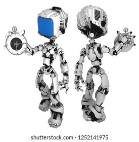 Screen robot figure character pose holding round watch in hand, front and back, 3d illustration, horizontal, isolated