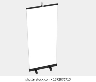 Screen vertical stand isolated on grey background. 3d rendering - illustration