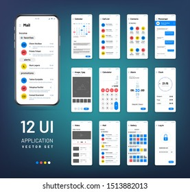 Screen wireframes. Mobile interface app wireframe kit. Ui templates