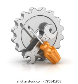 Screw Driver and Wrench with Gear , This is a 3d rendered computer generated image. Isolated on white.