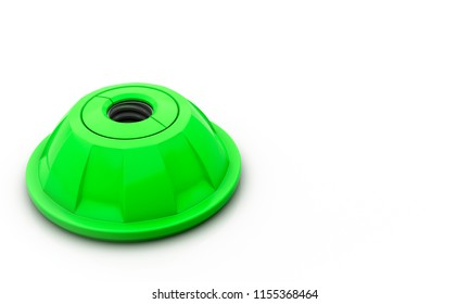 Screw hole green on white background 3d illustration
