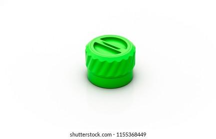 Screw lid green on white background 3d illustration