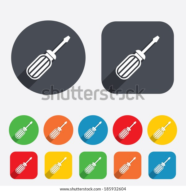 Screwdriver tool sign icon. Fix it symbol. Repair sign. Circles and rounded squares 12 buttons.