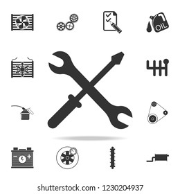 screwdriver and wrench icon. Detailed set of car repear icons. Premium quality graphic design icon. One of the collection icons for websites, web design, mobile app