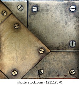 screws on brass metal texture ; abstract background