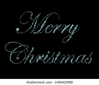 "Script ""Merry Christmas"" Written With Ice Blue 3D Rendered Snow Crystals Over Solid Black Background"