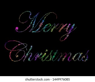 "Script ""Merry Christmas"" Written With Intense Gradient 3D Rendered Snow Flakes Over Solid Black Background"