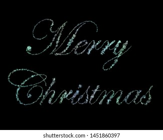 "Script ""Merry Christmas"" Written With Subdued Gradient 3D Rendered Snow Flakes Over Solid Black Background"
