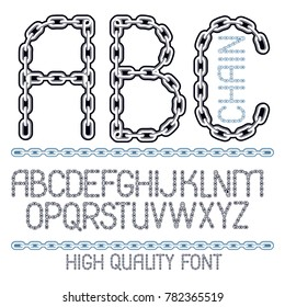 script, modern alphabet letters, abc set. Upper case decorative font created using metal connected chain link.