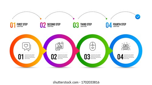 Scroll down, Heart and Report document line icons set. Timeline infographic. Gift sign. Mouse swipe, Love chat, Growth chart. Present. Business set. Scroll down icon. Timeline diagram.
