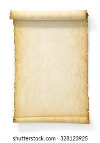 Scroll of old yellowed paper on white background.