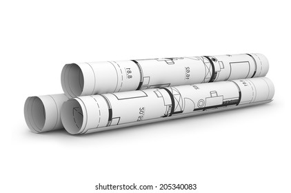 Scrolls of engineering drawings. Isolated render on a white background