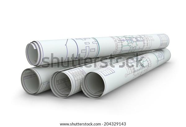 Skulpturen von Konstruktionszeichnungen. Einziger Rendering auf weißem Hintergrund