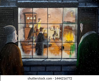 Scrooge and the Ghost of Christmas Present look in on the happy scene of the Cratchit family celebration.  From Dickens' A Christmas Carol.