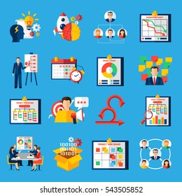 Scrum agile development framework methodology symbols  for managing complex projects flat icons collection abstract isolated  illustratin