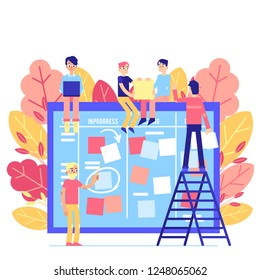 Scrum task board - big agile organizer with people sticking papers on it isolated on white background. Team work on project with daily planning process in flat illustration.