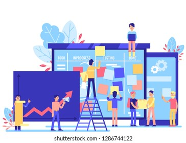 Scrum task board - big agile organizer with people sticking papers on it and analyzing process of software development isolated on white background in flat illustration.