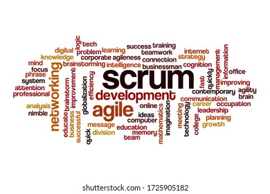 Scrum word cloud concept on white background