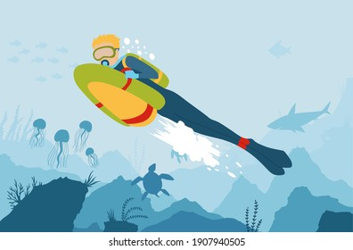 Scuba Diver with sea bob explores the bottom of the sea. cartoon style underwater background with sea flora and fauna. Coral reef, sea plants and fishes silhouettes. Diving club banner.