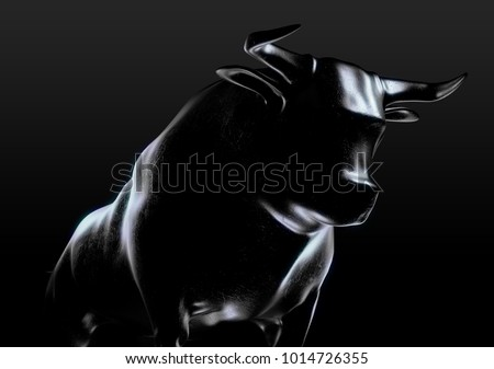 A sculpted casting depicting a bull in dramatic contrasting light representing financial market trends on an isolated dark background - 3D render