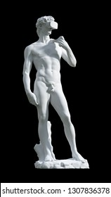 Sculpture David With VR Glasses Isolated On Black Background. 3D Illustration.
