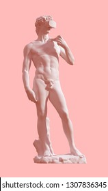 Sculpture David With VR Glasses On Pink Background. 3D Illustration.
