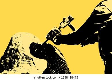 Sculpture man at work with hammer and protective gloves to carving a stone block - concept image with copy space