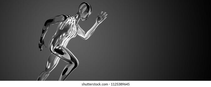 Sculpture of a running athlete. 3D rendering.