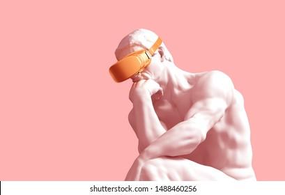 Sculpture Thinker With Golden VR Glasses On Pink Background. 3D Illustration.