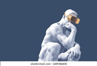Sculpture Thinker With Golden VR Glasses Over Blue Background. 3D Illustration.
