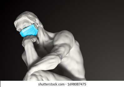 Bildhauerdenker in der medizinischen Maske. Novel Coronavirus (Covid-19). Konzept der Coronavirus-Quarantine. 3D-Illustration.