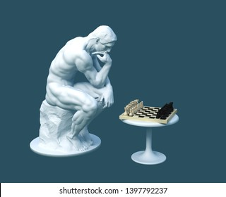 Sculpture Thinker Pondering The Chess Game On Blue Background. 3D Illustration.