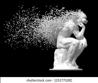 Sculpture Thinker With VR Glasses Desintegrated Into 3D Pixels On Black Background. 3D Illustration.