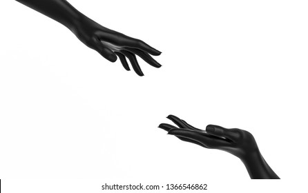 Sculptures of two female black hands isolated on white background, help and rescue concept, mannequin arms, 3d rendering