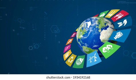 SDGs (Sustainable Development Goals) concept icon illustration. Elements of this image furnished by NASA. 3D rendering.