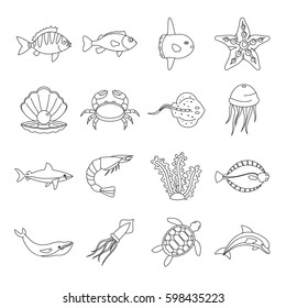 Sea animals icons set. Outline illustration of 16 sea animals  icons for web