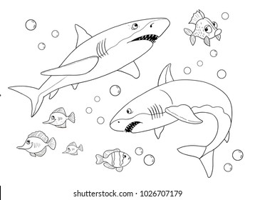 Sea animals. Ocean. Sharks. Coloring page. Cute and funny cartoon characters. Illustration for children
