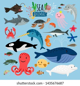 Sea Animals. underwater animal creatures and fish in the sea, swordfish and langoustine, ocean beach turtle and starfish isolated on blue background