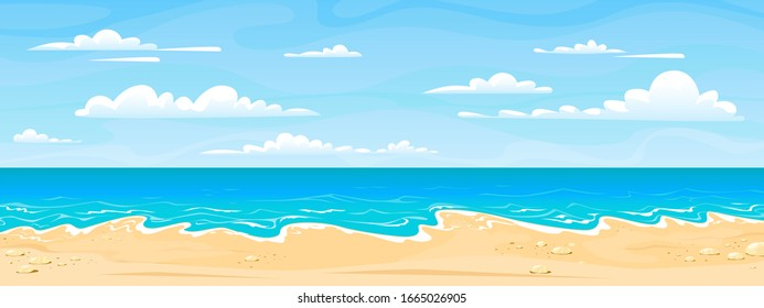 Sea beach landscape. Cartoon summer sunny day, ocean view horizontal panorama, water sand and clouds.  illustration beach vacation background